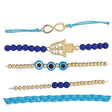 Lux Accessories Gold Tone Blue Infinity Evil Eye Hamsa Arm Candy Set (5pcs)