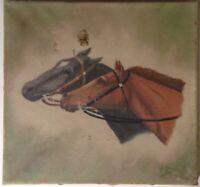 Tableau ancien Portrait de chevaux Georges GUYOT? Signé Huile à restaurer