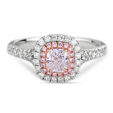 0.82 Ct White Diamond Engagement Ring H/SI Cushion Cut Pink Halo 18K White Gold