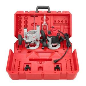 Milwaukee Multi Base Corded Router Kit 4 Point Bushing 11 Amp 1-3/4 HP 24000 RPM