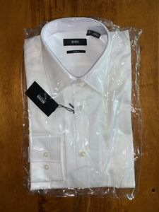 NEW RARE men's HUGO BOSS BLACK MAX slim fit herringbone dress shirt   14.5 32/33
