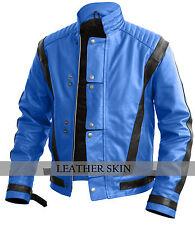 Michael Jackson Men Blue Genuine Leather Jacket with Black Stripes
