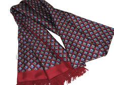 "Men's 100% Silk Scarf / Dark Red / Geometric / 62"" X 12"" / with fringe"