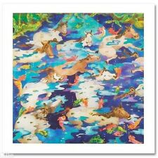 """""""Swimming Ponies I"""" by Linnea Pergola Signed Canvas"""