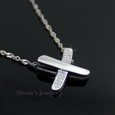 Fashion 18K White Gold Plated Letter X Crystal Pendant Necklace 169