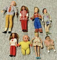 Lot of 8 Vintage Doll House Flexible Dolls Mom Dad Children Babies Not a Set
