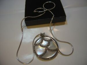 """STUNNING SOLID SILVER 24""""SNAKE CHAIN & MASSIVE MOTHER PEARL & MARCASITE PENDENT"""