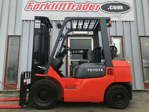2004 TOYOTA 7FGU25 5000LB SOLID PNEUMATIC 2 STAGE FORKLIFT FREE FREIGHT
