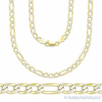 8.4mm Figaro Link Chain Diamond-Cut Pave Necklace in .925 Italy Sterling Silver