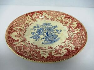 """Antique Plate Transfer Ware Blue White Platter Red English Pottery Collecti""""F116"""