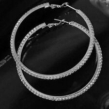 "Silver Rhinestone Hoop Earrings Big Large 2 3/4"" Boho Gypsy Pageant Party"