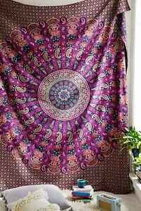 Indian Mandala Wall Hanging Paisley Queen Bedspread Urban Hippie Tapestry Throw