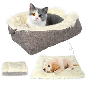 Warm Cat Plush Bed Multifunction Puppy Pet Soft Sleep Kennel Nesting Cushion Mat