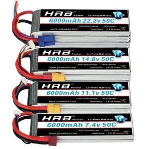 HRB 3S 4S 6S Lipo Battery 11.1v 14.8V 22.2V  6000mah RC 50C for Traxxas x-maxx