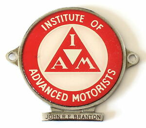 Vintage Enameled Mascot Badge Institute of Advanced Motorists IAM