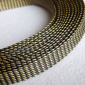 Ø3~20mm Black-Gold PET Braided Sleeving Cable Harness Sheathing Expanding Sleeve