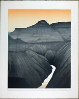 Vintage Silkscreen, Sunset Mountain Stream View Landscape, Signed Limit Numbered