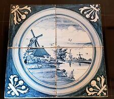 4 Dutch Delft Blue White Tiles tableau Holland scene encased in plaster Vtg Ant.