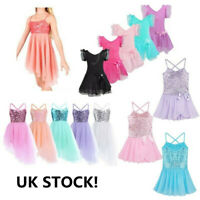 UK Girls Lyrical Ballet Dress Gymnastics Leotard Modern Dance Costume Dancewear