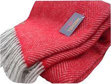 Herringbone pure new wool blanket throw rug Red/Charcoal BRITISH MADE Tweedmill