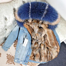 2018 Women Big Fox/Raccoon Fur Hooded Denim Coat Rabbit Lined Short Jacket Parka