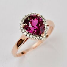 PURPLE GARNET RING UNIQUE 3.27ct GEM GENUINE DIAMONDS 9K ROSE GOLD SIZE Q NEW