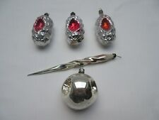 vintage silver & pink glass Christmas tree baubles decorations ornaments