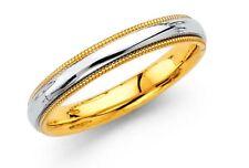 Milligrain Comfort-Fit Wedding Band 14k Two-tone Gold Ladies 3.2-mm