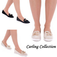 Ladies Womens Flats Slip On Loafers Fashion Comfort Tassel Pom Pom Shoes Size