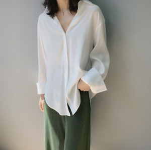 Summer solid color satin luster women's long-sleeve thin shirt tops