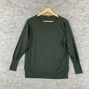 Uniqlo Womens Jumper Size S Small Green Wool Long Sleeve Knit Stretch 288.01