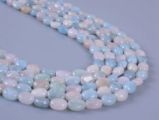 0349  8mm Natural aquamarine morganite beryl flat oval loose gemstone beads 16""