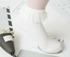Lady Women Girl Retro White Fancy Ankle Ruffle Frilly Short Lace Cotton Socks