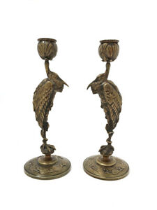Pair of Japanese / Art Nouveau Bronze Naturalistic Crane / Stork Candle Holders