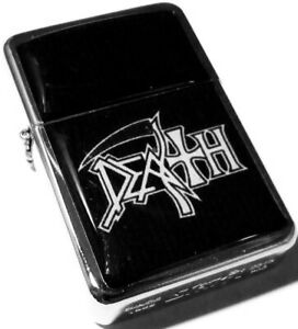 DEATH Band White Logo Smoking Cigarette Silver Petrol Lighter Metal Rock