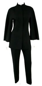 CHADO RALPH RUCCI Black Wool Crepe Wide Sleeve Pant Suit 6