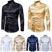 Vintage Men Silk Satin Long Sleeve Shirt Wedding Tuxedo Slim Dress Shirts Top