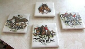 "4 Vintage DalTile Hunt Scene Horses Decorative Ceramic Tiles 3"" MINT"