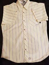 RedSand Men's Shirt Pale Yellow & Blue Striped Button Up Short Sleeve L EUC