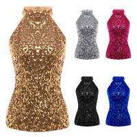 Womens Ladies Sequin Sparkle Sleeveless Tank Top Vest T-shirt Disco Blouse Vests