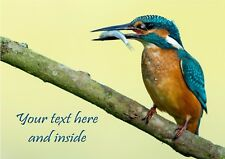 PERSONALISED KINGFISHER BIRD WILD LIFE BIRTHDAY ANY OCCASION CARD Illus inside