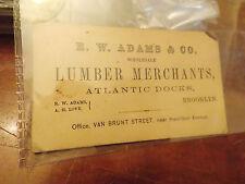 RARE Civil War Era Brooklyn New York Business Card R.W. Adams Lumber dealer