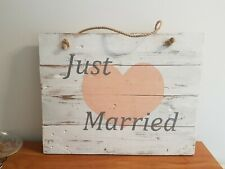 Rustic Reclaimed Wood Just Married Sign Hand Made