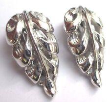 boucles d'oreilles clips vis couleur argent  bijou vintage feuille gravée 3152