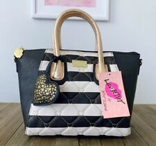 Luv BETSEY JOHNSON Quilted Satchel Gold Black & Ivory Striped Crossbody LBGIGI