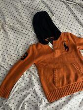 Stylish Boys Ralph Lauren Orange And Blue Hooded Sweater Size 5