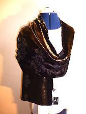 Terciopelo devoré Bufanda/Estola De Terciopelo Negro Diseño Floral/Old Gold Forrado Nuevo