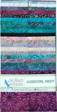 "Island Batik Coastal Mist Purple Teal Blue Batiks Jelly Roll Strips Pack 40 2.5"""