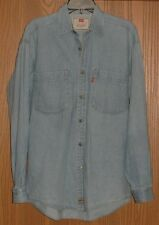 Mens Vintage Levis Denim Long Sleeve Button Front Shirt Size S ! Awesome !