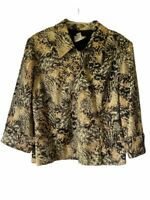 Joseph Ribkoff Womens Jacket Beige Brown Abstract Zip Front Lined Casual 14